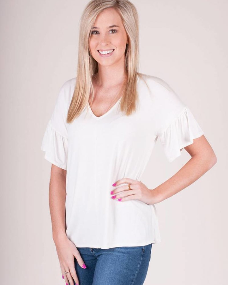 Chloe VNeck Ruffle S/S Top