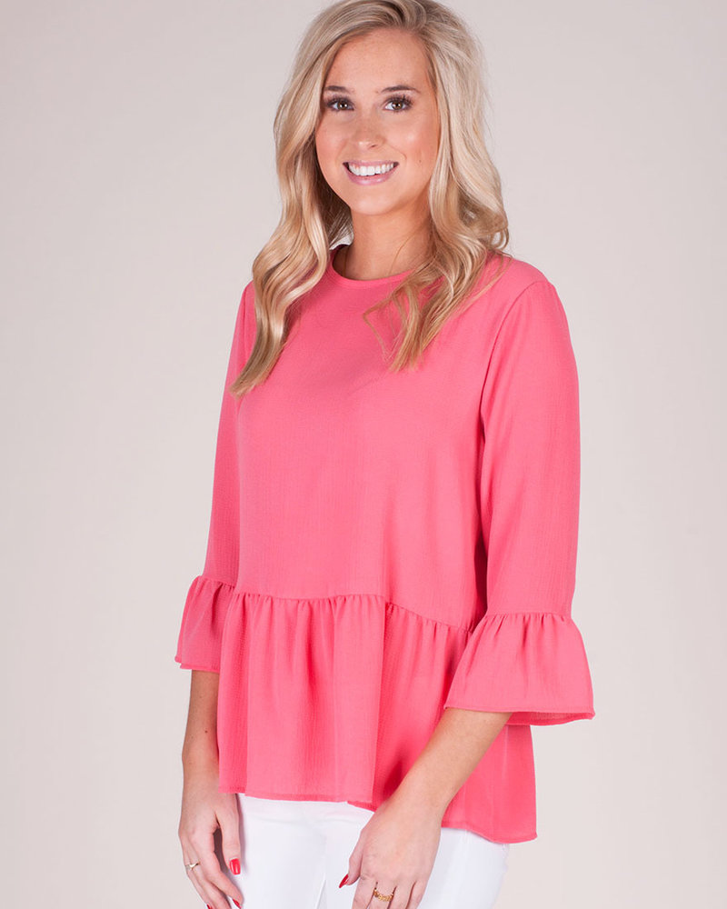 Blakely Ruffled Slv & Hem Top