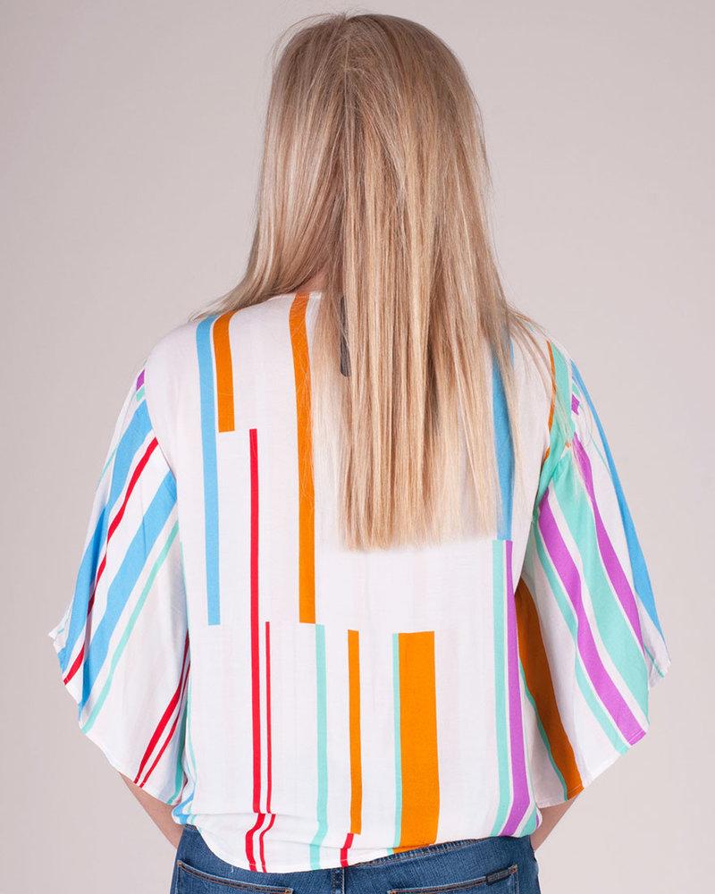 Allie Stripe Tie Front Top