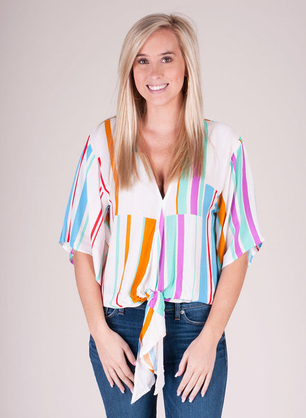 Allie Stripe Tie Front Top