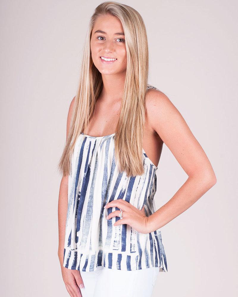 Stripe Pleated Strappy Cami