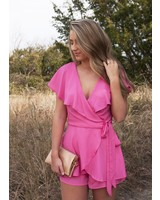 Listicle - Sally Wide Lapel Wrap Romper