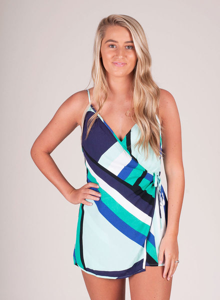 Vivian Blue Abstract Romper