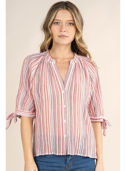 Allison S/S Striped Button Front Top