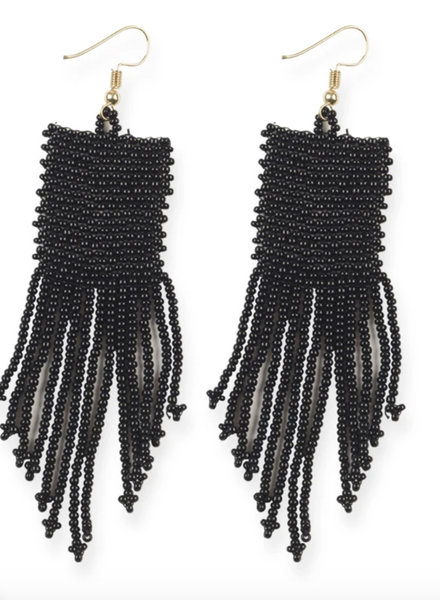 Ink+Alloy - Solid Sead Bead w/ Fringe Earrings