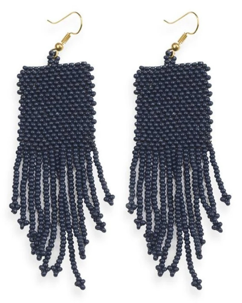 Ink+Alloy - Solid Sead Bead w/ Fringe Earrings
