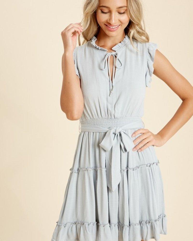 Ashley Ruffle Neck Smocked Dress
