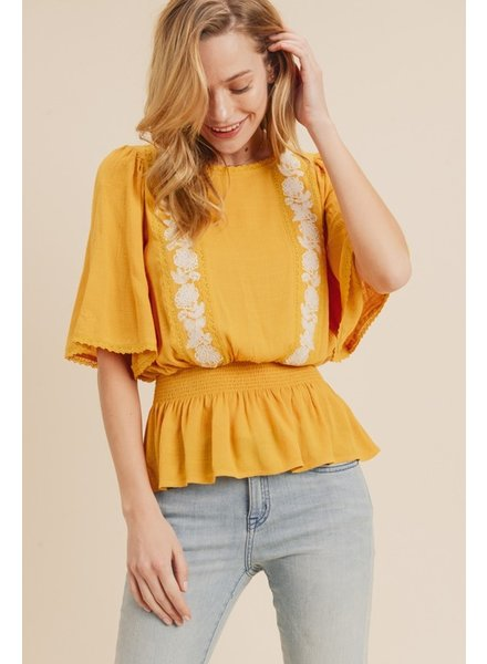 Krista Embroidered Flutter Sleeve Top