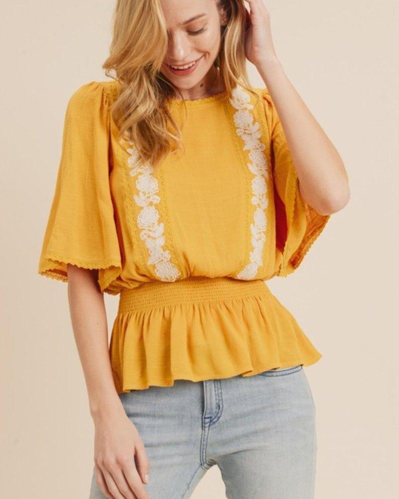 Krista Embroidered Flutter Sleeve Top