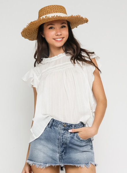 Ella Ruffled Crochet Blouse