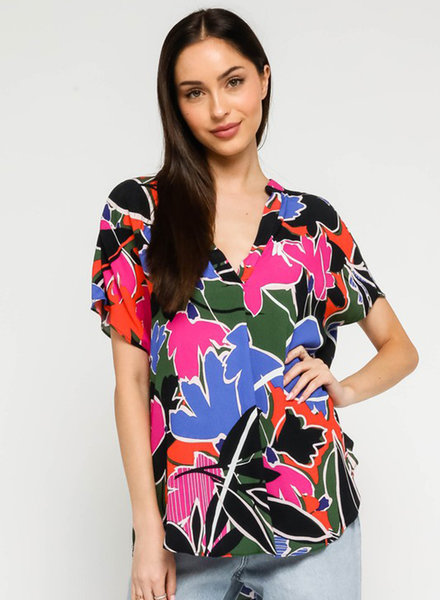 Asher Tropical S/S VNeck Top