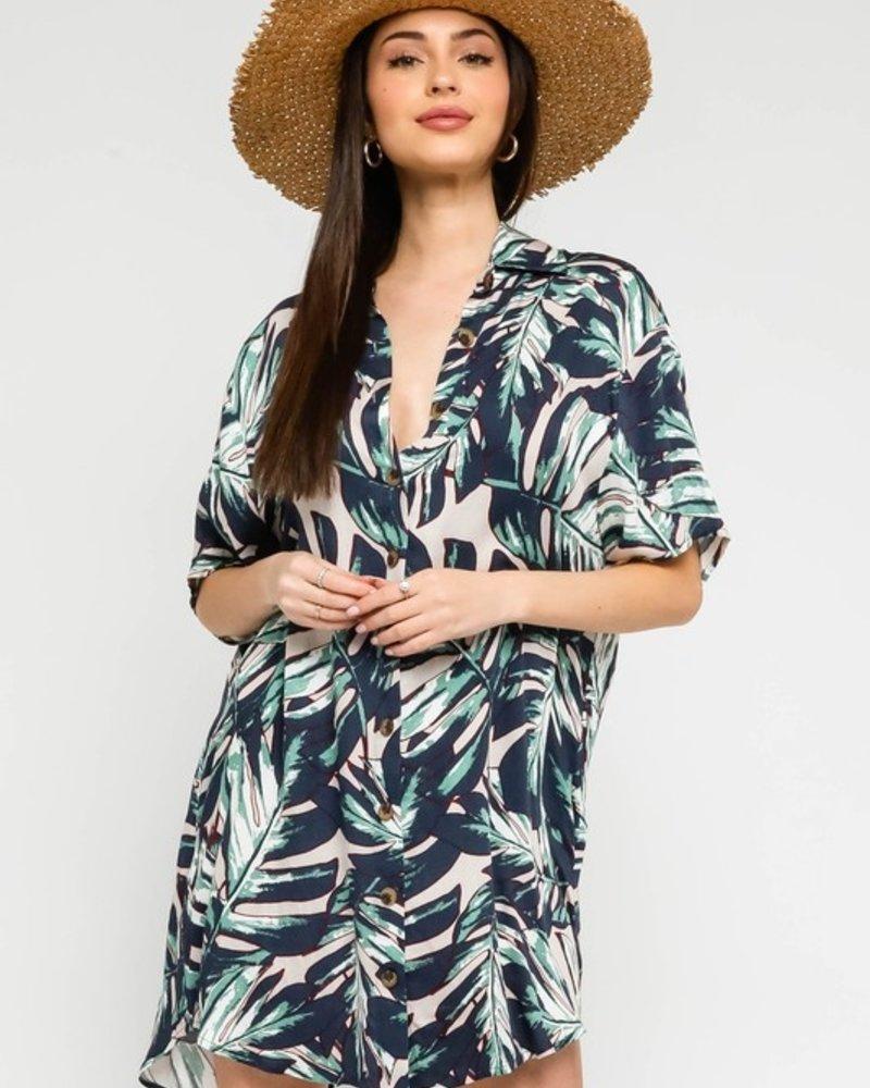 Ensley Palm Shirt Dress
