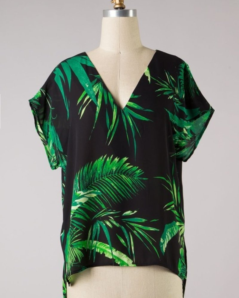 Isla VNeck Leaf Print Top