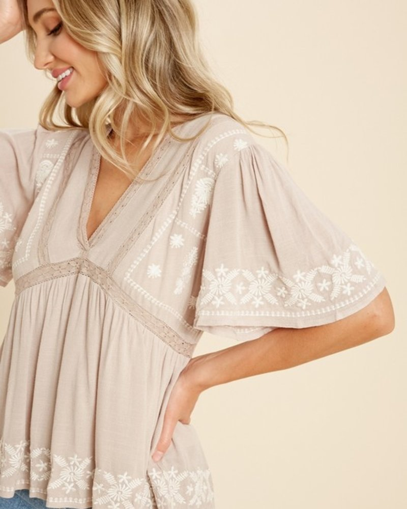 Nellie Embroidered Babydoll Top