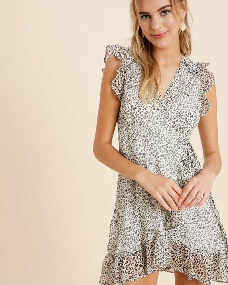 Leopard Wrap Mini Dress