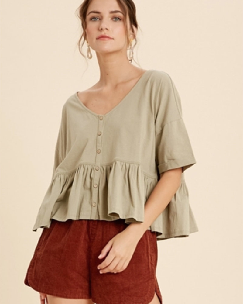 Ramona S/S VNeck Button Down Top