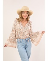 Falling Flowers Bell Sleeve Peasant Top