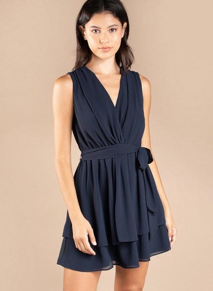 S/L VNeck Flare Dress w/ Knot