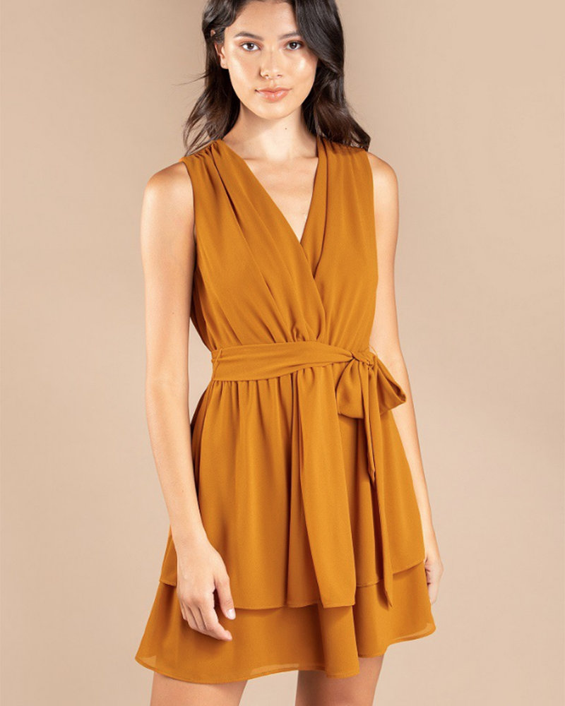 S/L VNeck Flare Dress w/ Knot