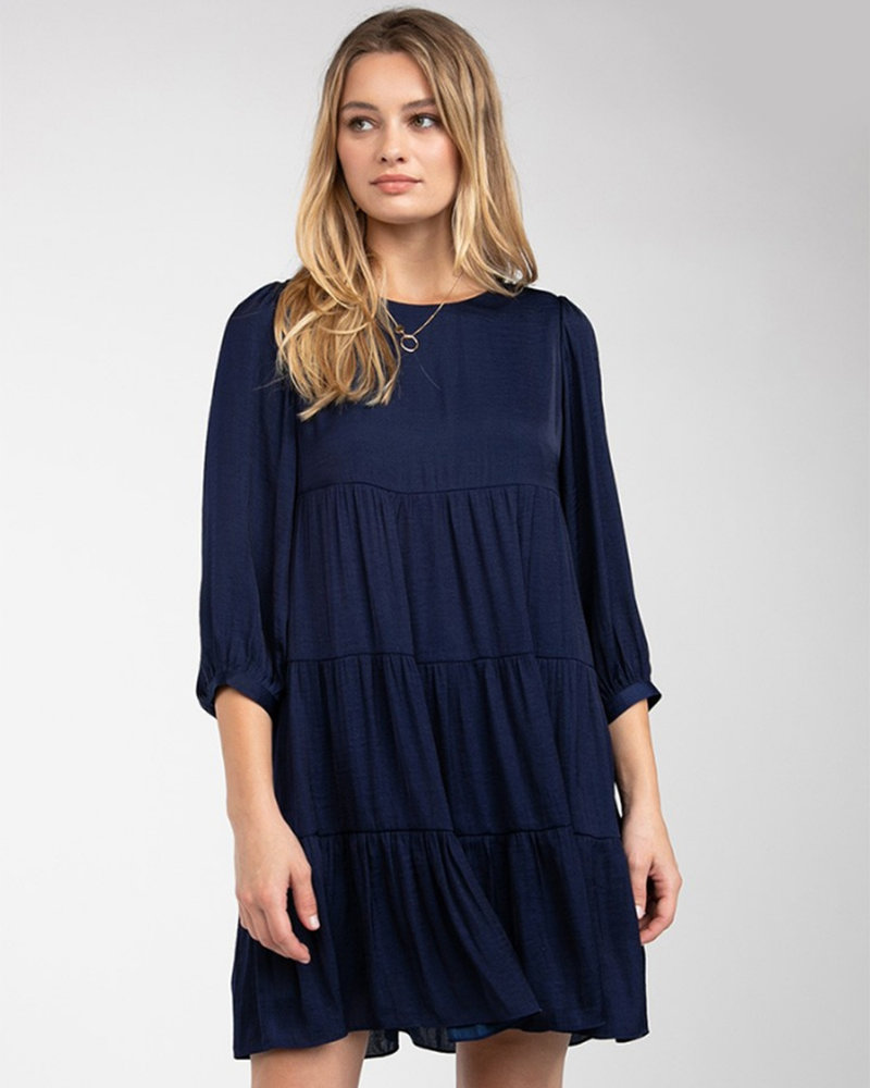 Tiered Dress w/ 3/4 Sleeve