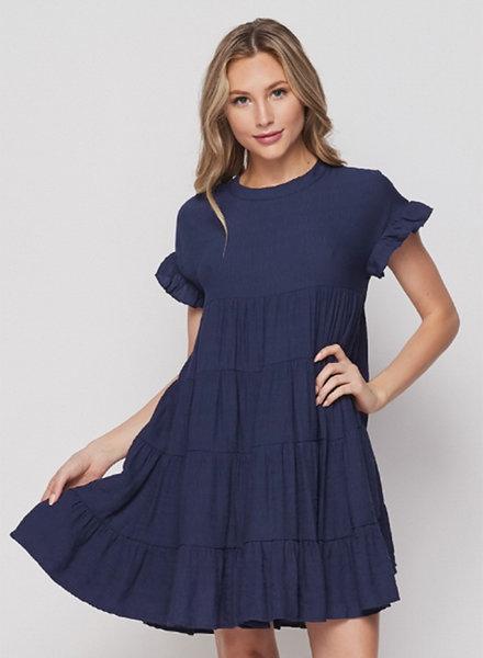 Tanya S/S Babydoll Tiered Swing Dress