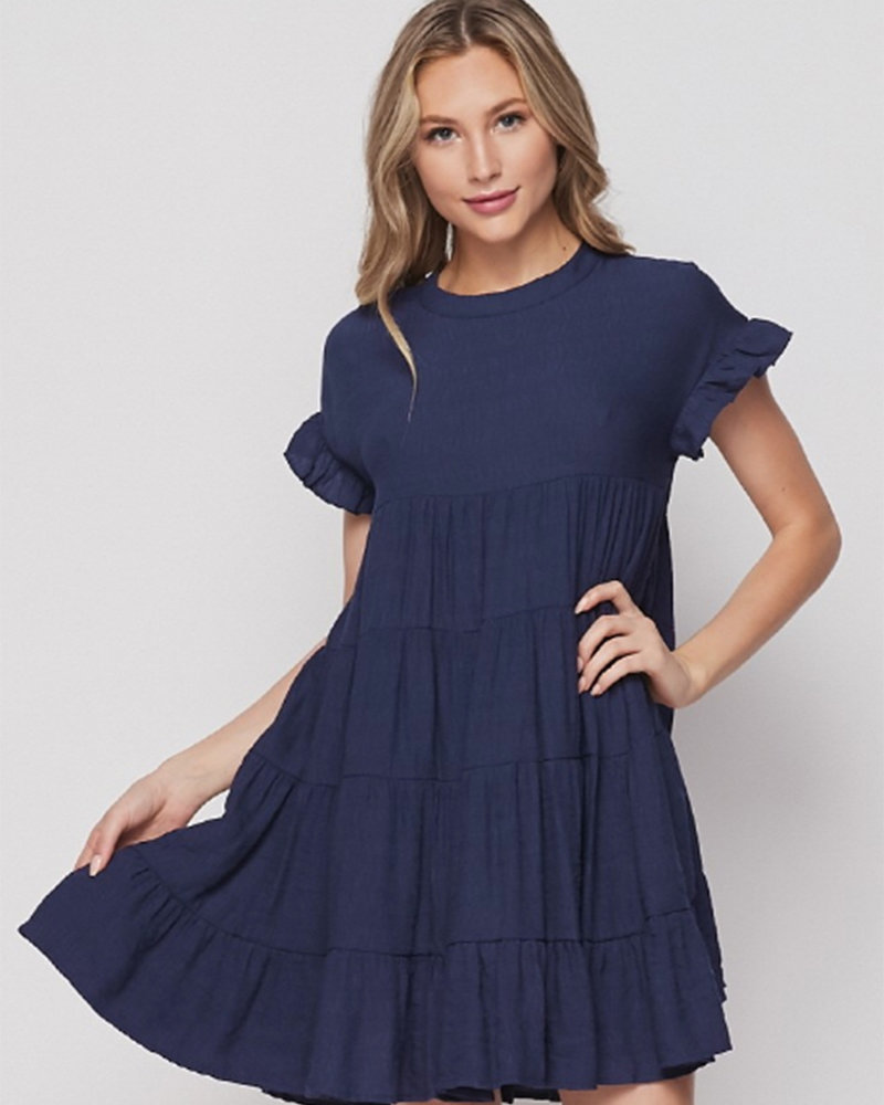 Tanya S/S Babydoll Tiered Swing Dress