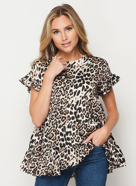 FAS - Madelyn Tiered Animal Print Top