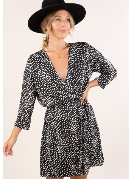 Leopard Print 3/4 Slv Wrap Dress