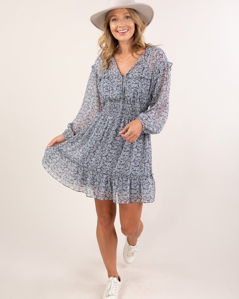 Flirty Floral L/S Printed Dress