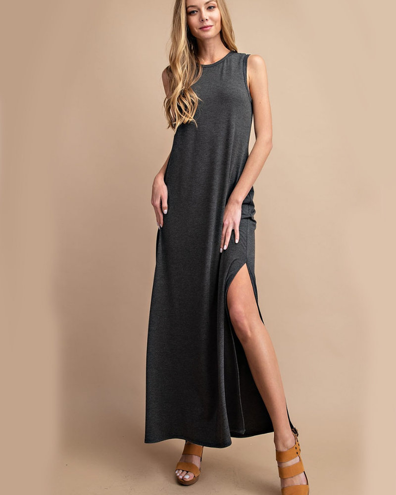 Vanessa Jersey S/L Dress w/ Side Slits