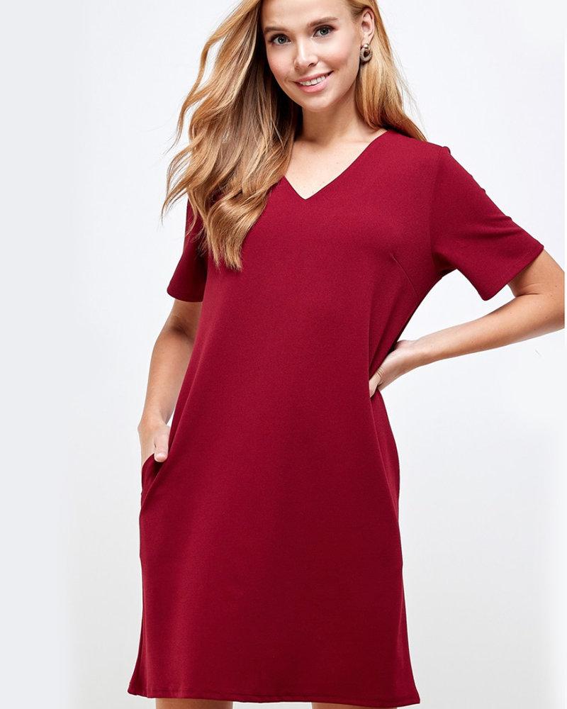 Brianna Solid VNeck Shift Dress