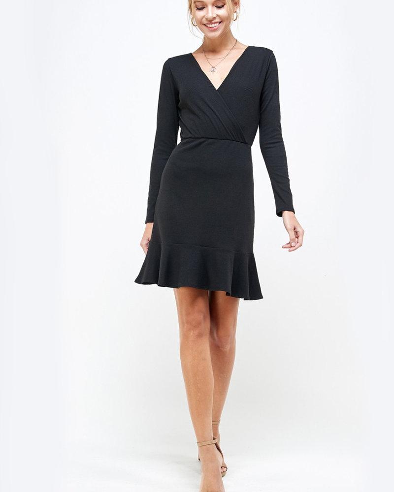Chloe Ribbed L/S Dress with Ruffle Hem