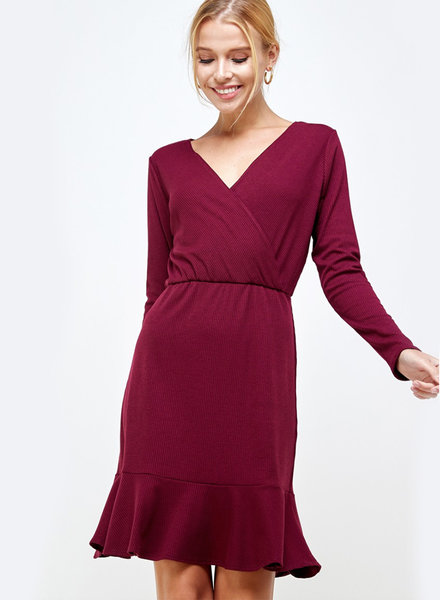 Chloe Ribbed L/S Dress with Ruffle Hem