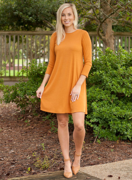 Ashlynn Solid Ribbed 3/4 Sleeve Dress