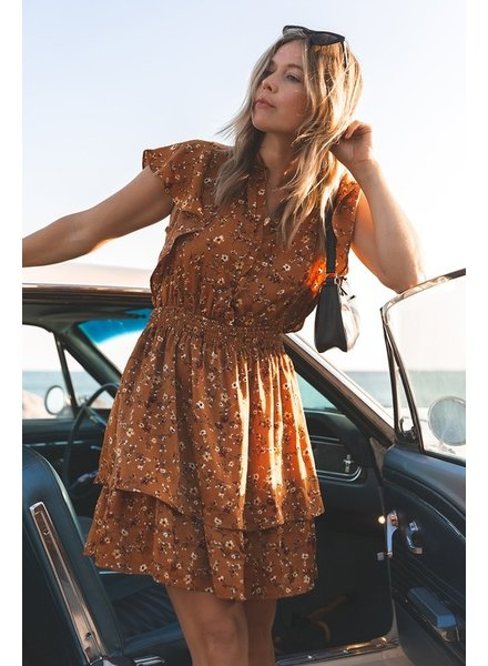 Minka Floral Flutter Sleeve Dress