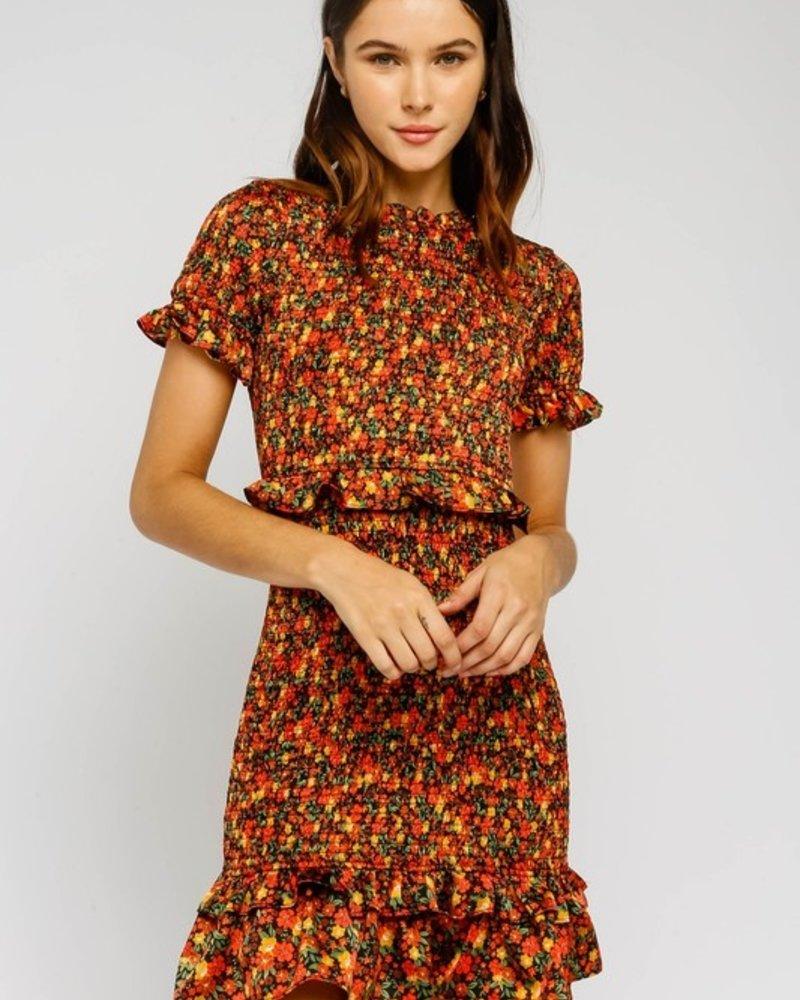 Asher Satin Floral Smocked Dress