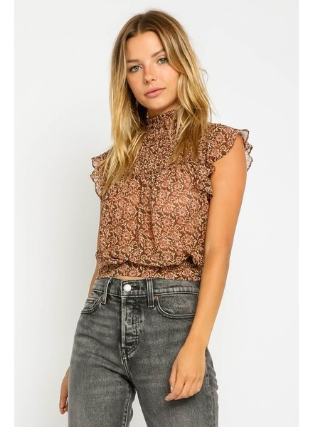 Blakely S/L Tapestry Mock Neck Top