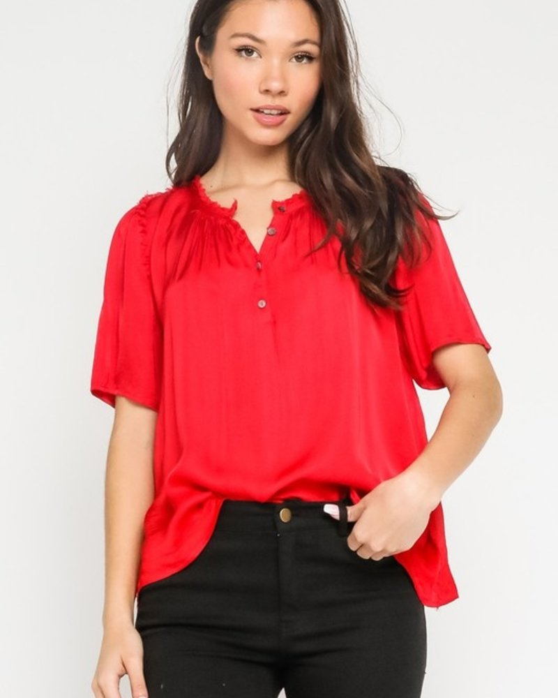 Isabella S/S Satin Button Up Top