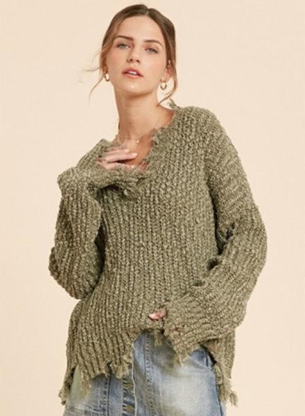 Caroline Distressed Hem Sweater
