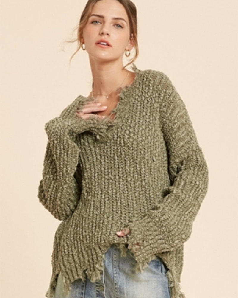 Caroline Distressed Hem Sweater