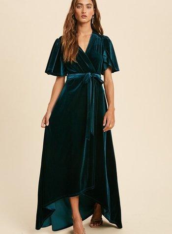 Velvet Wrap Maxi Dress