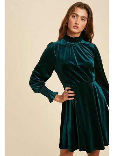 Smocked Turtle Neck Velvet Dress