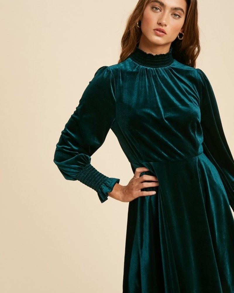 Smocked Turtle Neck Velvet Dress