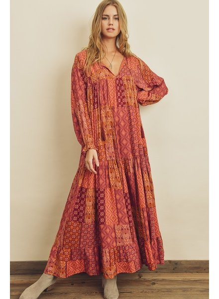 Ryleigh Patchwork Tiered Boho Dress