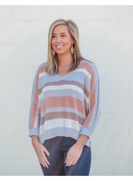 Bethany Stripe 3/4Slv Sweater