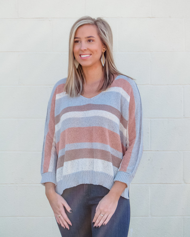Bethany Stripe 3/4Slv Sweater