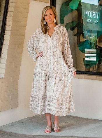Valerie Snakeskin Boho Dress