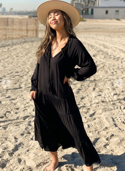 Long Sleeve Dot Tiered Maxi