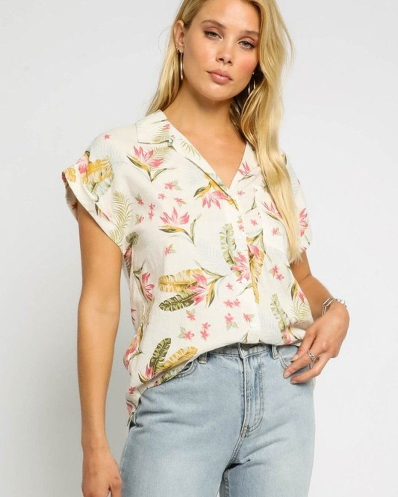 Katherine Tropical Button Up Top