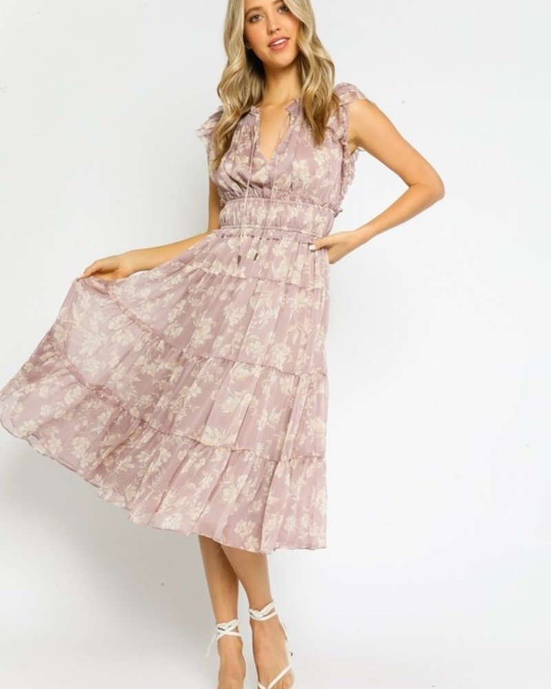 Lila Floral Tiered Midi Dress